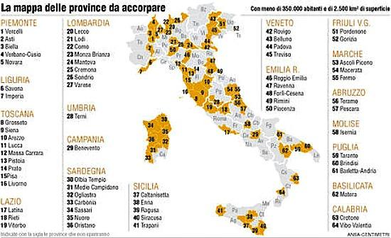 Cartina Italia E Province.Televideo Province Come Cambia L Italia