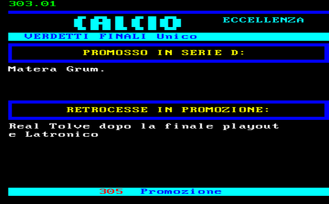 RISULTATO CAMPIONATO CALCIO ECCELLENZA BASILICATA