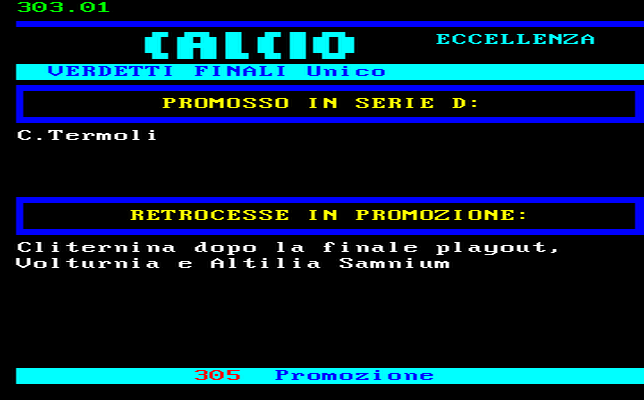 CLASSIFICA CAMPIONATO CALCIO ECCELLENZA MOLISE