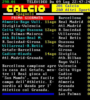 Campionato Spagnolo Risultati e Classifica