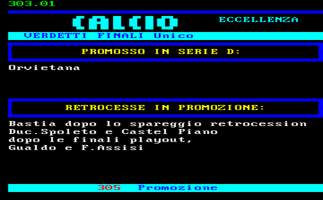 CLASSIFICA CAMPIONATO CALCIO ECCELLENZA UMBRIA